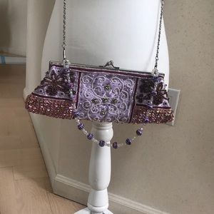 Evening clutch beaded fabric
